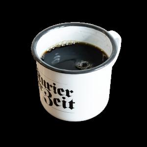 Tasse, Emaile Tasse, Kurier der Zeit, Kaffee, Tee